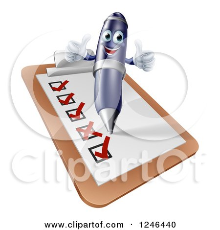 Clipart of a Pen Completing a Survey - Royalty Free Vector Illustration by AtStockIllustration