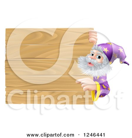 Clipart of a Senior Male Wizard Pointing at a Wooden Sign - Royalty Free Vector Illustration by AtStockIllustration