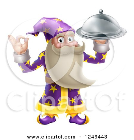 Clipart of a Senior Wizard Holding up a Food Platter - Royalty Free Vector Illustration by AtStockIllustration