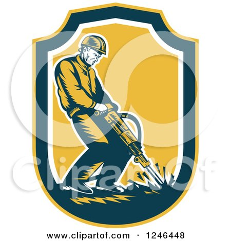 Clipart of a Retro Male Construction Worker Operating a Jackhammer in a Shield - Royalty Free Vector Illustration by patrimonio