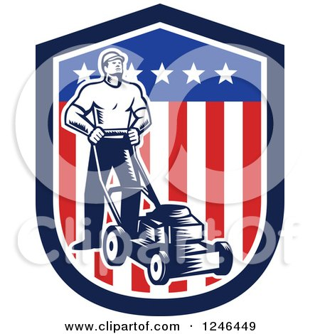 Clipart of a Retro Woodcut Male Gardener with a Mower in an American Shield - Royalty Free Vector Illustration by patrimonio