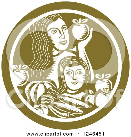 Clipart of a Retro Woodcut Mother and Child with Produce in a Green Circle - Royalty Free Vector Illustration by patrimonio