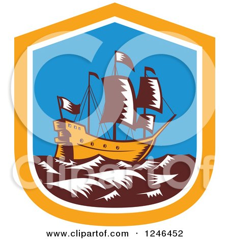 Clipart of a Retro Woodcut Tall Galleon Ship at Sea in a Shield - Royalty Free Vector Illustration by patrimonio