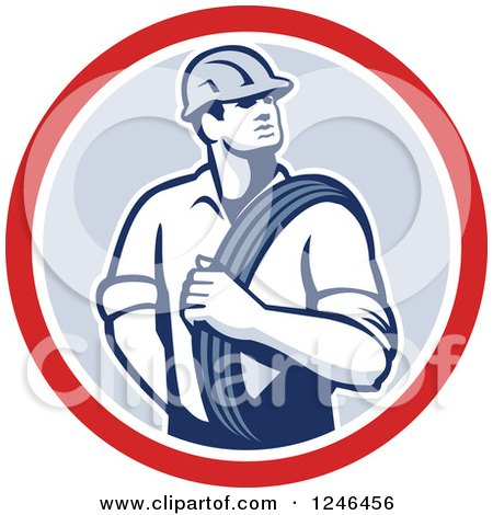 Clipart of a Retro Power Lineman with an Electric Wire in a Circle - Royalty Free Vector Illustration by patrimonio