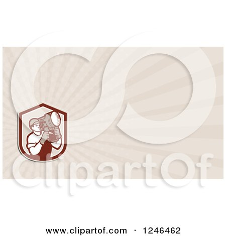 Clipart of a Ray Lighting Crew Man Background or Business Card Design - Royalty Free Illustration by patrimonio