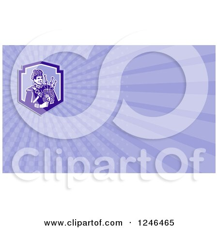 Clipart of a Ray Scottish Bagpiper Background or Business Card Design - Royalty Free Illustration by patrimonio
