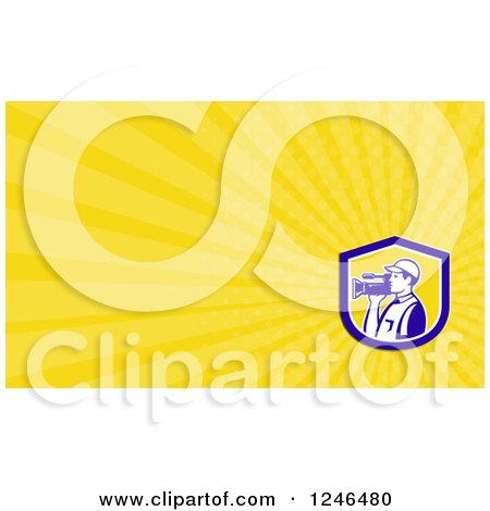 Clipart of a Yellow Ray Camera Man Background or Business Card Design - Royalty Free Illustration by patrimonio
