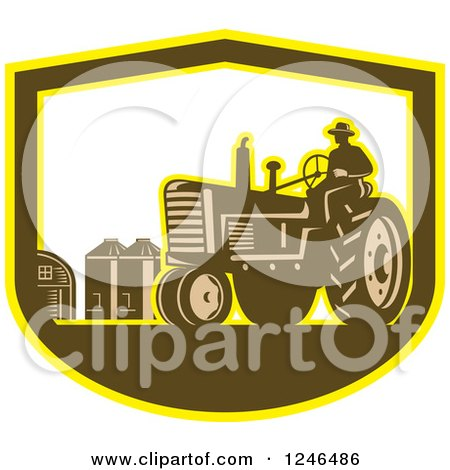 Clipart of a Retro Farmer Driving a Tractor on a Farm in a Shield - Royalty Free Vector Illustration by patrimonio