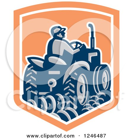 Clipart of a Retro Farmer Driving a Tractor and Plowing in a Shield - Royalty Free Vector Illustration by patrimonio