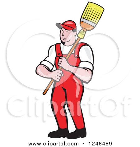 Clipart of a Cartoon Male Janitor with a Mop or Broom over His Shoulder - Royalty Free Vector Illustration by patrimonio