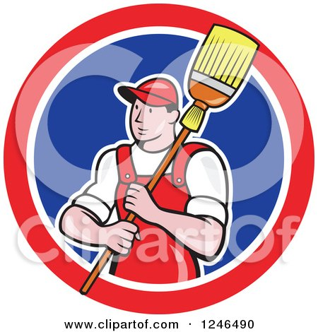 Clipart of a Male Janitor with a Mop or Broom over His Shoulder in a Circle - Royalty Free Vector Illustration by patrimonio