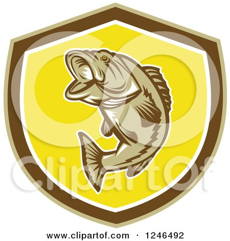 Clipart of a Jumping Largemouth Bass Fish in a Shield - Royalty Free Vector Illustration by patrimonio