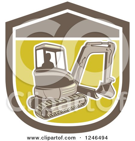 Clipart of a Retro Excavator Machine in a Sheild - Royalty Free Vector Illustration by patrimonio