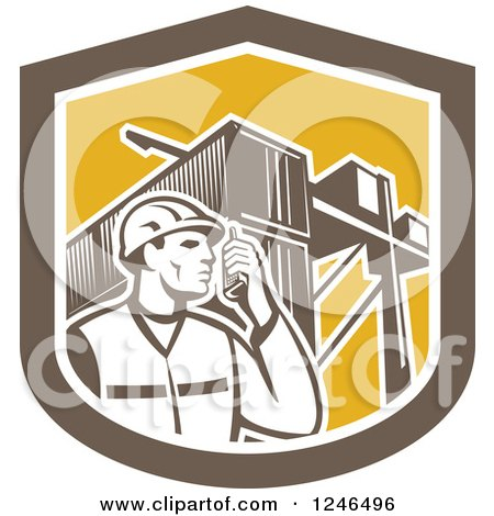 Clipart of a Retor Male Dock Worker with Shipping Containers in a Shield - Royalty Free Vector Illustration by patrimonio