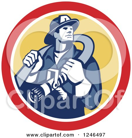 Clipart of a Retro Fireman with a Hose in a Yellow and Red Circle - Royalty Free Vector Illustration by patrimonio
