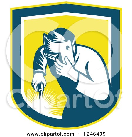 Clipart of a Retro Welder Worker in a Yellow Shield - Royalty Free Vector Illustration by patrimonio