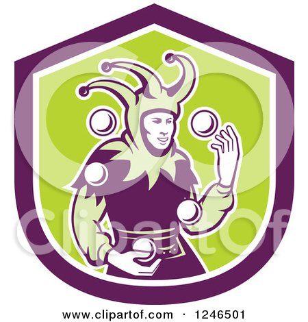 Clipart of a Retro Jester Juggling Balls over a Green and Purple Shield - Royalty Free Vector Illustration by patrimonio