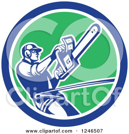 Clipart of a Retro Harnessed Male Arborist Operating a Chainsaw in a Circle - Royalty Free Vector Illustration by patrimonio