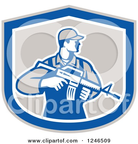 Clipart of a Male Soldier Holding an Assault Rifle in a Shield - Royalty Free Vector Illustration by patrimonio