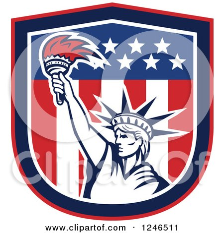 Clipart of a Retro Statue of Liberty Holding up a Torch in an American Flag Shield - Royalty Free Vector Illustration by patrimonio