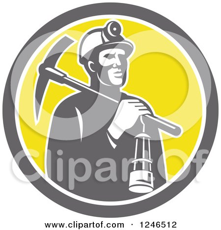 Clipart of a Retro Coal Miner with a Lantern and Pickaxe in a Circle - Royalty Free Vector Illustration by patrimonio
