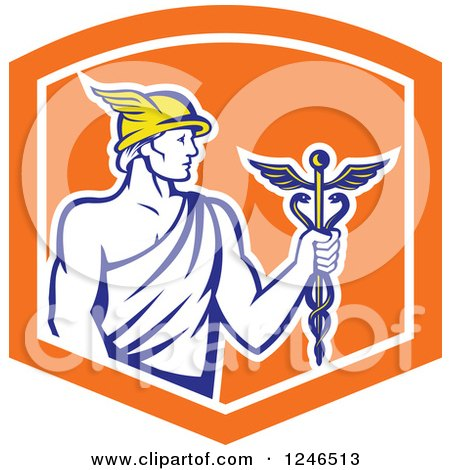 Clipart of a Retro Roman God Mercury with a Caduceus in an Orange Shield - Royalty Free Vector Illustration by patrimonio