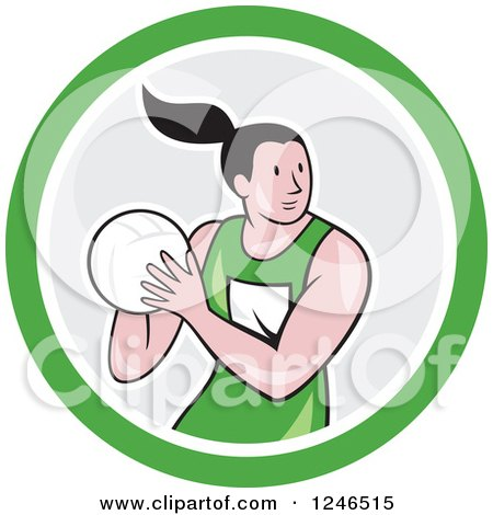 Clipart of a Cartoon Female Netball Player in a Circle - Royalty Free Vector Illustration by patrimonio