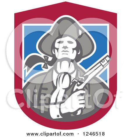 Clipart of a Retro Minuteman Patriot with a Flintlock Pistol over a Shield - Royalty Free Vector Illustration by patrimonio