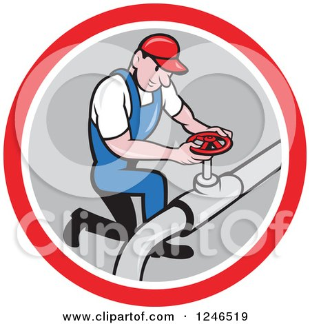 Clipart of a Cartoon Male Plumber Turning on a Pipe in a Circle - Royalty Free Vector Illustration by patrimonio