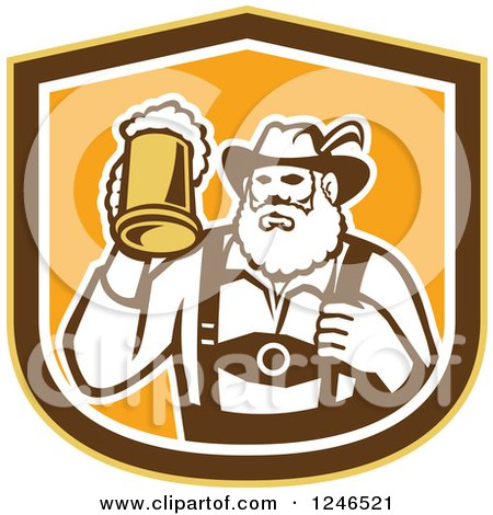 Clipart of a Retro German Man Holding up a Mug of Beer in a Shield - Royalty Free Vector Illustration by patrimonio
