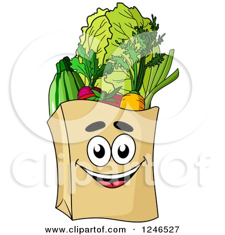 Clipart of a Paper Grocery Bag Character - Royalty Free Vector Illustration by Vector Tradition SM