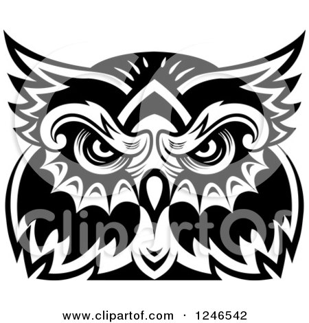 Clipart Of A Black And White Owl Face Tribal Tattoo 5 Royalty