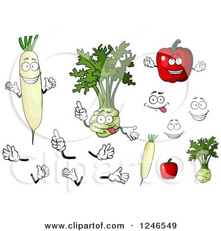 Clipart of Daikon Radish, Kohlrabi, and Bell Pepper Characters - Royalty Free Vector Illustration by Vector Tradition SM