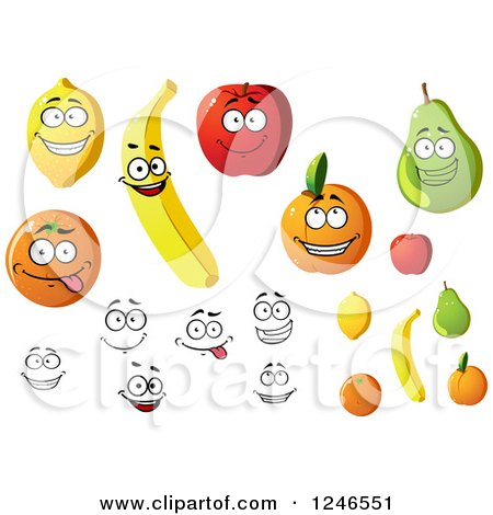 Clipart of Lemon Orange Banana Apple Apricot and Pear Fruit Characters - Royalty Free Vector Illustration by Vector Tradition SM