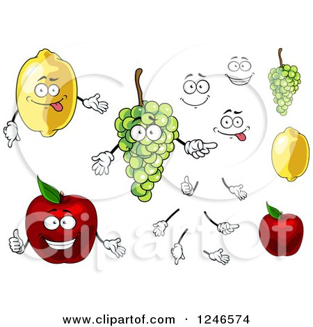 Clipart of Lemon Grapes and Apple Fruit Characters - Royalty Free Vector Illustration by Vector Tradition SM