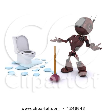 Clipart of a 3d Red Android Robot by a Plunger and Toilet - Royalty Free Illustration by KJ Pargeter