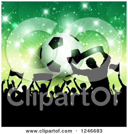 Clipart of a Silhouetted Crowd of Fans over a Soccer Ball and Green Flares - Royalty Free Vector Illustration by KJ Pargeter