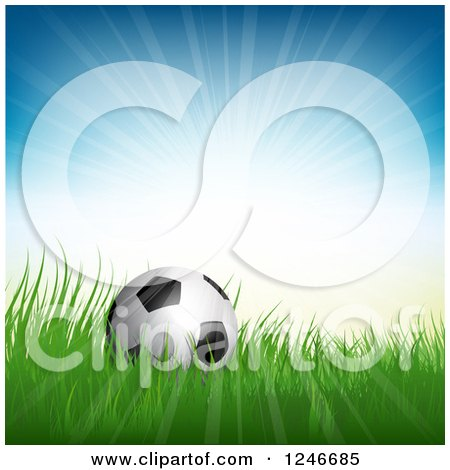 Clipart of a 3d Soccer Ball in Grass Under Sunshine - Royalty Free Vector Illustration by KJ Pargeter