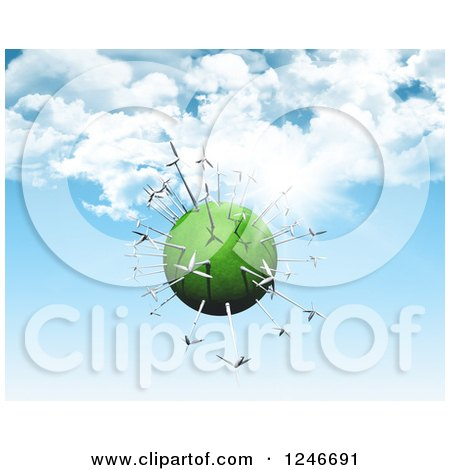 Clipart of a 3d Green Planet with Wind Turbines over Blue Sky with Clouds - Royalty Free Illustration by KJ Pargeter