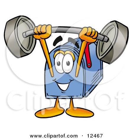 Blue Postal Mailbox Cartoon Character Holding a Heavy Barbell Above His Head Posters, Art Prints
