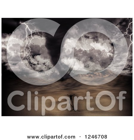 Clipart of a 3d Man Challenging a Tornado Storm in a Desert - Royalty Free Illustration by KJ Pargeter