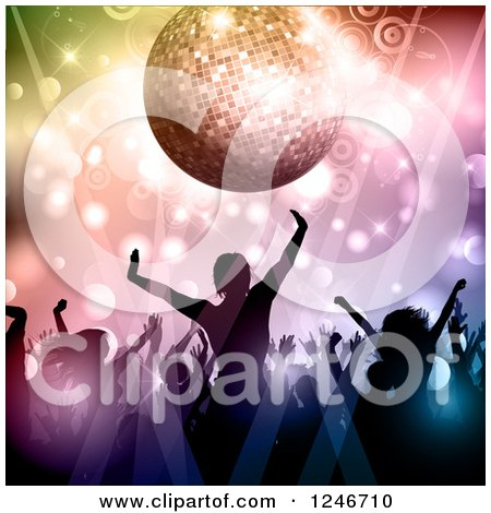 Clipart of Silhouetted Dancers Under a Disco Ball Circles and Lights - Royalty Free Vector Illustration by KJ Pargeter