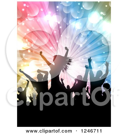 Clipart of Silhouetted Dancers Under Lights - Royalty Free Vector Illustration by KJ Pargeter