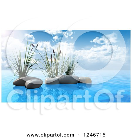 Clipart of 3d Aquatic Reed Plants and Stones in Blue Water - Royalty Free Illustration by KJ Pargeter