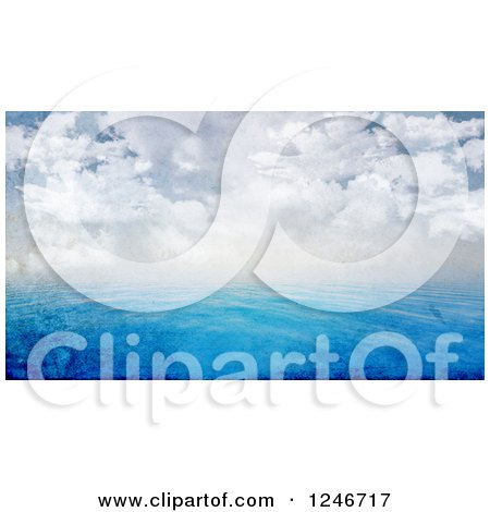 Clipart of a 3d Distressed Background of Blue Ocean Water and a Cloudy Sky - Royalty Free Illustration by KJ Pargeter