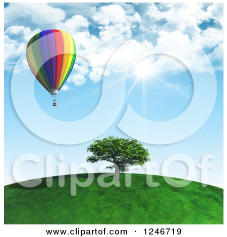 Clipart of a 3d Hot Air Balloon over a Tree on a Hill Top on a Sunny Day - Royalty Free Illustration by KJ Pargeter