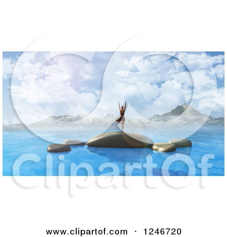 Clipart of a 3d Woman Doing Yoga on Rocks in the Ocean with Mountains in the Distance - Royalty Free Illustration by KJ Pargeter