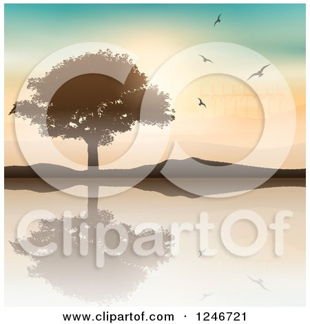 Silhouetted Tree and Hills Reflecting in a Lake with Birds and Wind Turbines Posters, Art Prints