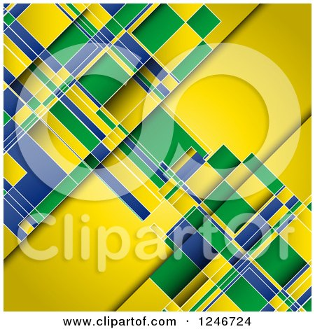 Clipart of a Yellow Green and Blue Brazilian Flag Colored Background - Royalty Free Vector Illustration by KJ Pargeter