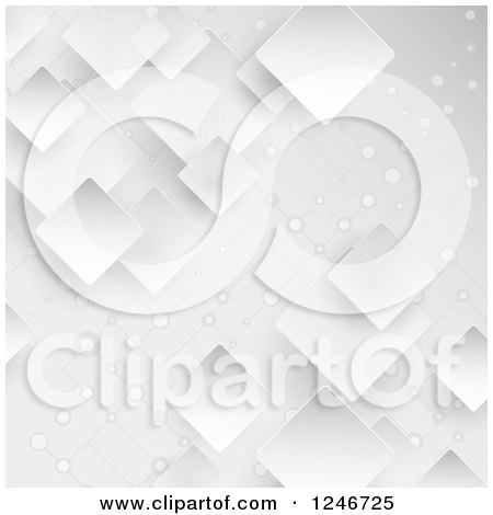 Clipart of a Grayscale Background with Connected Networked Squares - Royalty Free Vector Illustration by KJ Pargeter